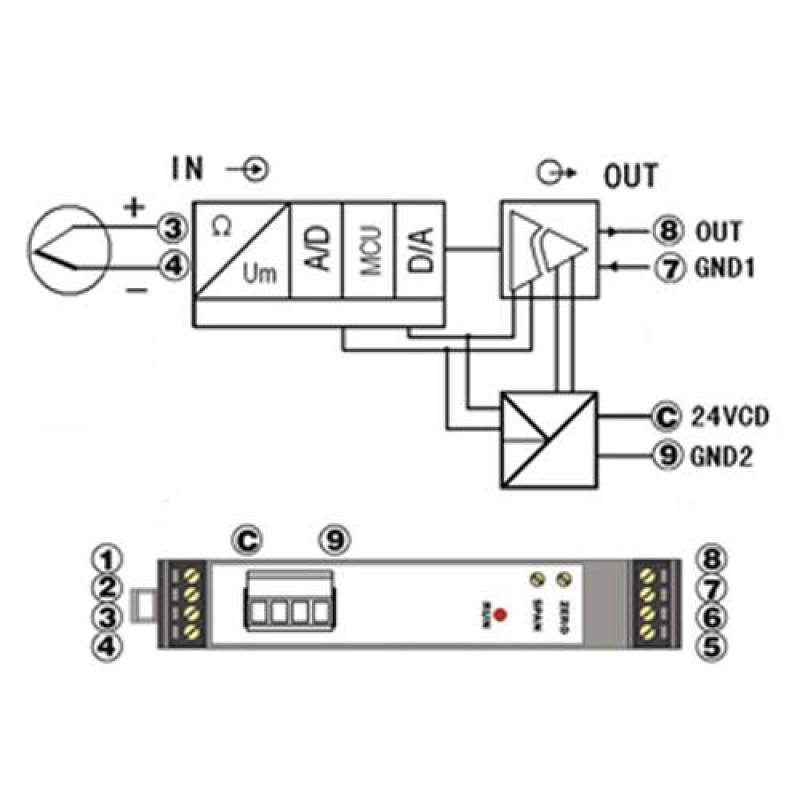 Thermocouple to 4-20mA Converter with 35mm Rail-mounted